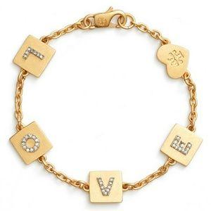 Tory Burch NWOT Brass/Crystal LOVE Bracelet